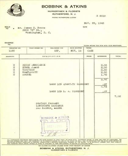 Itemized receipt from Bobbink & Atkins to Beatrix Farrand, November 22, 1943