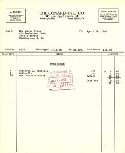 Itemized receipt from Conard-Pyle Co. for Beatrix Farrand, April 24, 1942