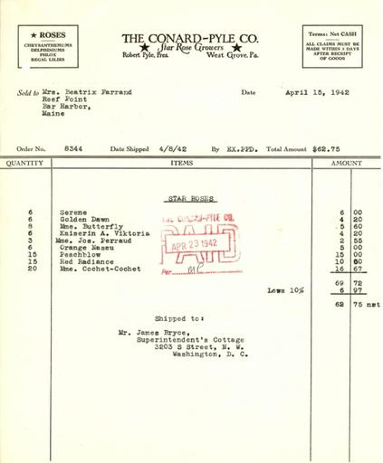 Itemized receipt from Conard-Pyle Co. to Beatrix Farrand, April 15, 1942