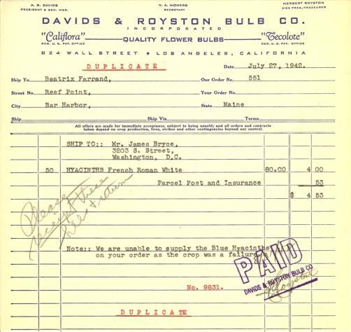 Itemized receipt from Davids & Royston Bulb Co. to Beatrix Farrand, July 27, 1942