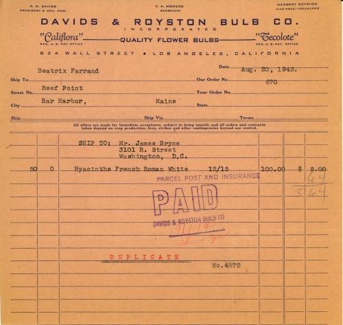 Itemized receipt from Davids & Royston Bulb Co. to Beatrix Farrand, August 20, 1943
