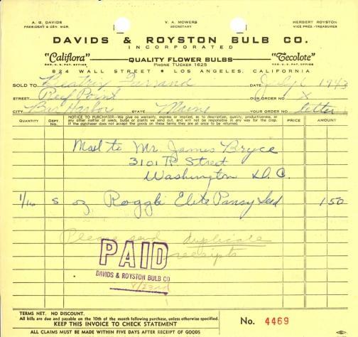 Itemized receipt from Davids & Royston Bulb Co. to Beatrix Farrand, July 6, 1943 (2)