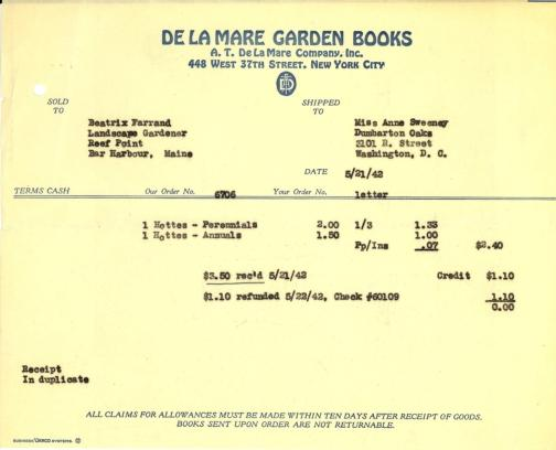 Itemized receipt from A.T. De La Mare Company, Inc. to Beatrix Farrand, May 21, 1942