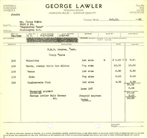 Itemized receipt from George Lawler (Firm) for Beatrix Farrand, October 15, 1942