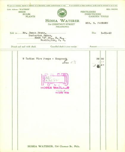 Itemized receipt from Hosea Waterer for Beatrix Farrand, January 31, 1942