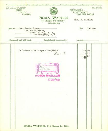 Itemized receipt from Hosea Waterer for Beatrix Farrand, January 31, 1942