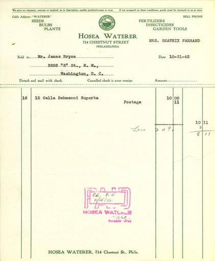 Itemized receipt from Hosea Waterer for Beatrix Farrand, October 31, 1942