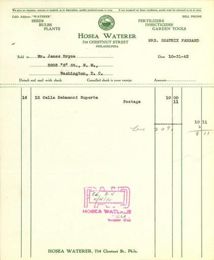 Itemized receipt from Hosea Waterer for Beatrix Farrand, October 31, 1942