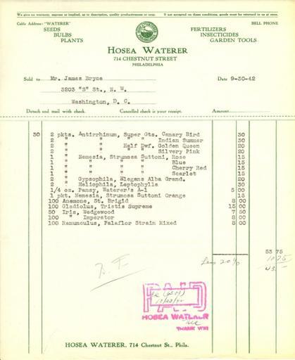 Itemized receipt from Hosea Waterer for Beatrix Farrand, September 30, 1942