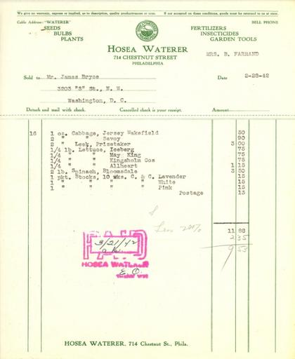 Itemized receipt from Hosea Waterer for Beatrix Farrand, February 28, 1942