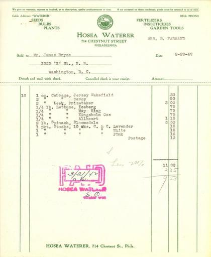 Itemized receipt from Hosea Waterer for Beatrix Farrand, February 28, 1942