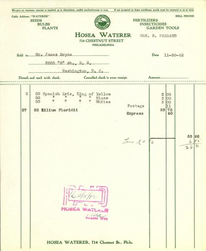 Itemized receipt from Hosea Waterer to Beatrix Farrand, November 30, 1942