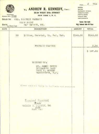 Itemized receipt from Andrew R. Kennedy, Inc. to Beatrix Farrand, August 30, 1946