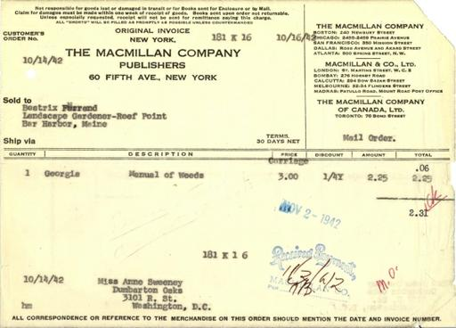 Itemized receipt from Macmillan Company to Beatrix Farrand, October 14, 1942