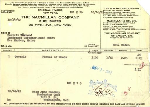 Itemized receipt from Macmillan Company to Beatrix Farrand, October 14, 1942