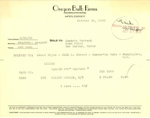 Itemized receipt from Oregon Bulb Farms to Beatrix Farrand, October 16, 1943