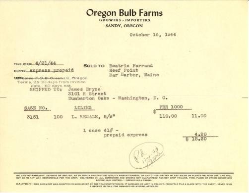 Itemized receipt from Oregon Bulb Farms to Beatrix Farrand, October 16, 1944