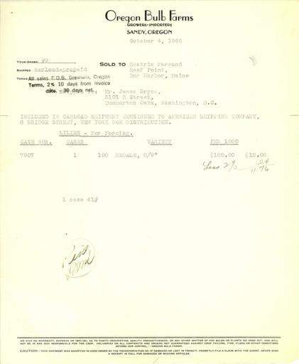 Itemized receipt from Oregon Bulb Farms to Beatrix Farrand, October 4, 1946