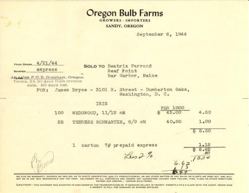 Itemized receipt from Oregon Bulb Farms to Beatrix Farrand, September 6, 1944