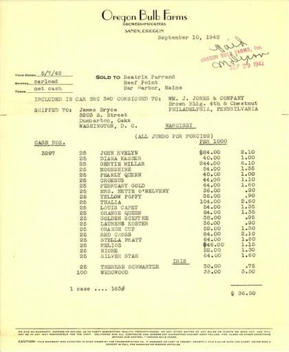 Itemized receipt from Oregon Bulb Farms to Beatrix Farrand, September 10, 1942