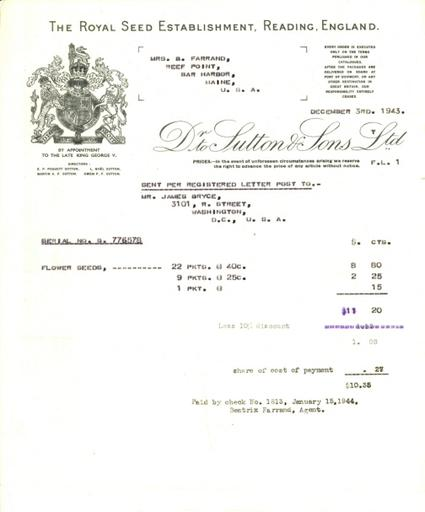 Itemized receipt from Sutton & Sons to Beatrix Farrand, December 3, 1943