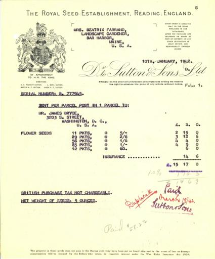 Itemized receipt from Sutton & Sons to Beatrix Farrand, January 10, 1942