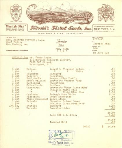Itemized receipt from Trivett's Tested Seeds to Beatrix Farrand, February 17, 1943