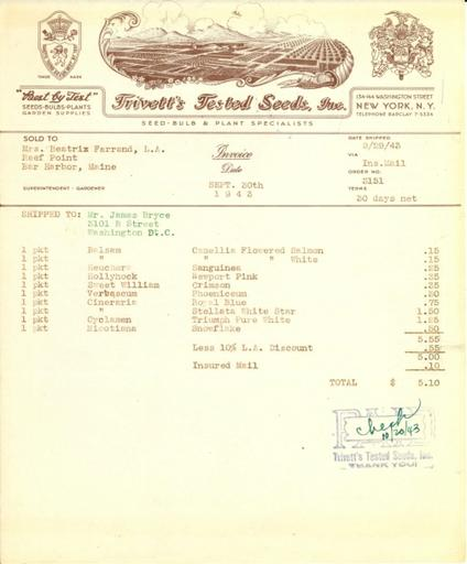 Itemized receipt from Trivett's Tested Seeds, Inc. to Beatrix Farrand, September 30, 1943