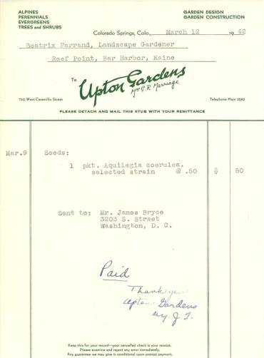 Itemized receipt from Upton Gardens to Beatrix Farrand, March 12, 1942
