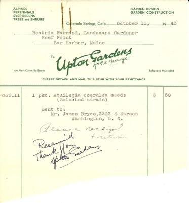 Itemized receipt from Upton Gardens to Beatrix Farrand, October 11, 1943