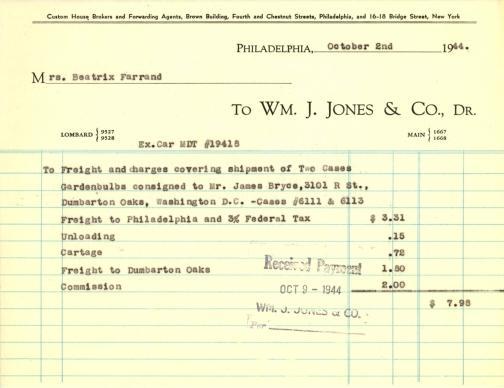 Itemized receipt from Wm. J. Jones & Co. to Beatrix Farrand, October 2, 1944