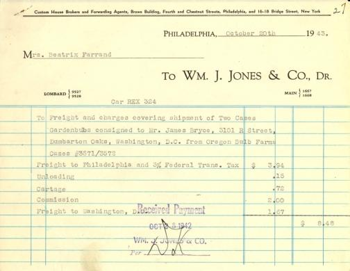 Itemized receipt from Wm. J. Jones & Co. to Beatrix Farrand, October 20, 1943