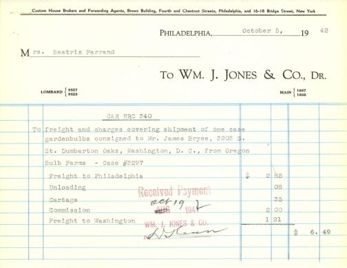 Itemized receipt from Wm. J. Jones & Co. to Beatrix Farrand, October 5, 1942