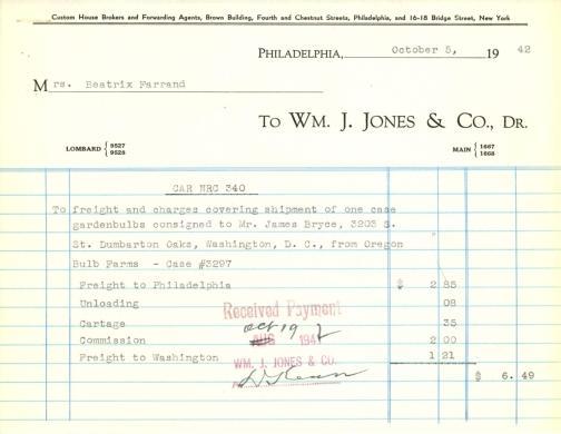 Itemized receipt from Wm. J. Jones & Co. to Beatrix Farrand, October 5, 1942