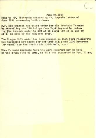Memo to Robert Patterson concerning James Bryce's letter of June 23, 1947 and the change to bulb orders