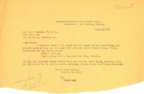 Order and payment from Beatrix Farrand to Davids & Royston Bulb Co., September 8, 1943
