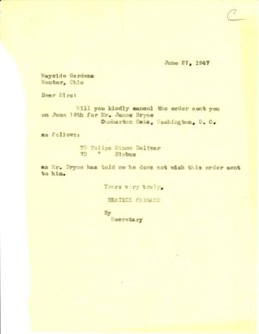 Order cancellation from Beatrix Farrand to Wayside Gardens, June 27, 1947