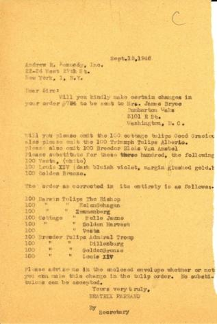Order correction from Beatrix Farrand to Andrew R. Kennedy, Inc., September 18, 1946
