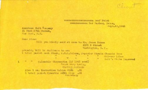Order from Beatrix Farrand to American Bulb Company, September 22, 1943