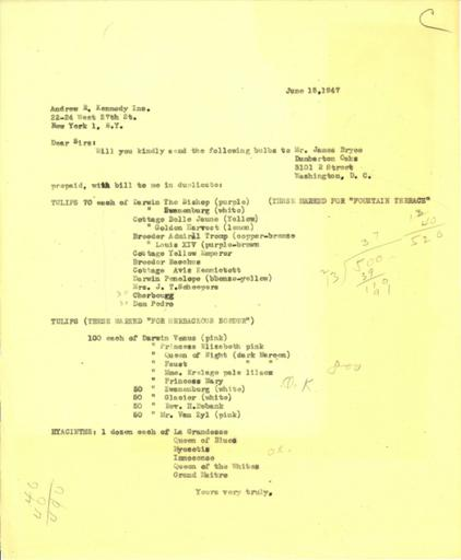 Order from Beatrix Farrand to Andrew R. Kennedy, Inc., June 18, 1947 (2)