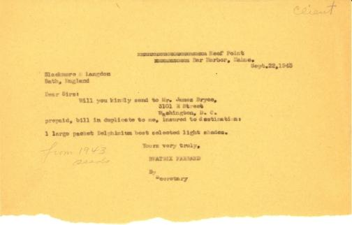 Order from Beatrix Farrand to Blackmore & Langdon, September 22, 1943