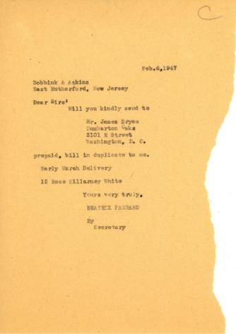 Order from Beatrix Farrand to Bobbink & Atkins, February 6, 1947