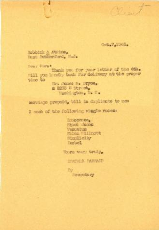 Order from Beatrix Farrand to Bobbink & Atkins, October 7, 1943
