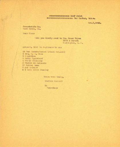 Order from Beatrix Farrand to Conard-Pyle Co., October 2, 1943