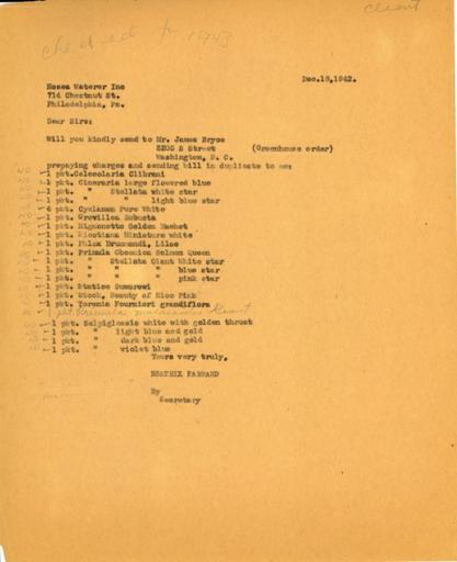 Order from Beatrix Farrand to Hosea Waterer, December 18, 1942 (1)