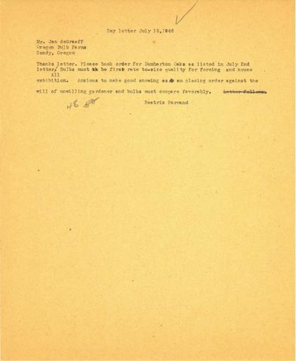 Order from Beatrix Farrand to Jan de Graaff, Oregon Bulb Farms, July 15, 1946
