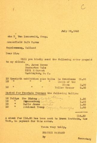 Order from Beatrix Farrand to John H. van Zonneveld Comp., July 26,1946
