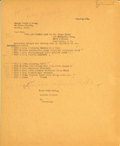 Order from Beatrix Farrand to Joseph Breck & Sons, December 18, 1942