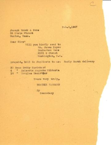 Order from Beatrix Farrand to Joseph Breck & Sons, February 6, 1947