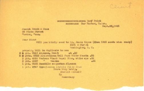 Order from Beatrix Farrand to Joseph Breck & Sons, September 22, 1943 (1)